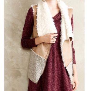 Saturday Sunday Faux Fur Wool Blend Vest Medium